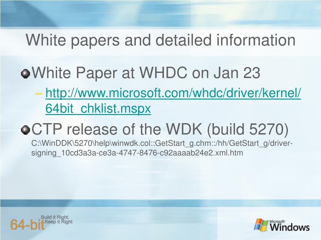 White papers and detailed information