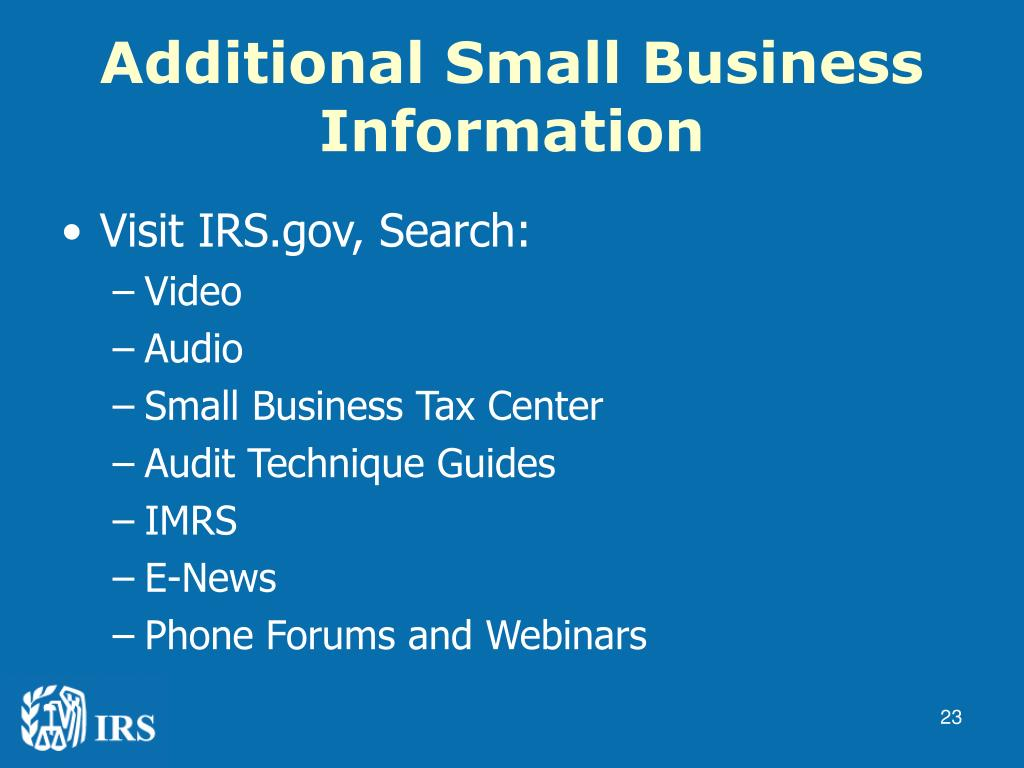 Additional Small Business Information