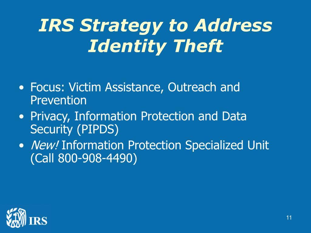 IRS Strategy to Address Identity Theft