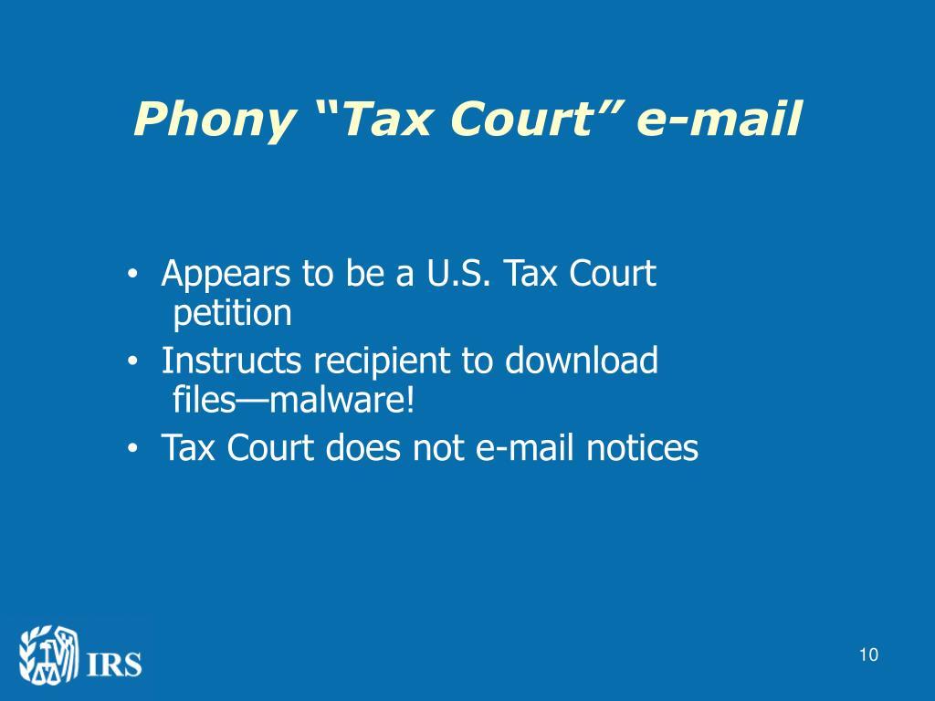 "Phony ""Tax Court"" e-mail"