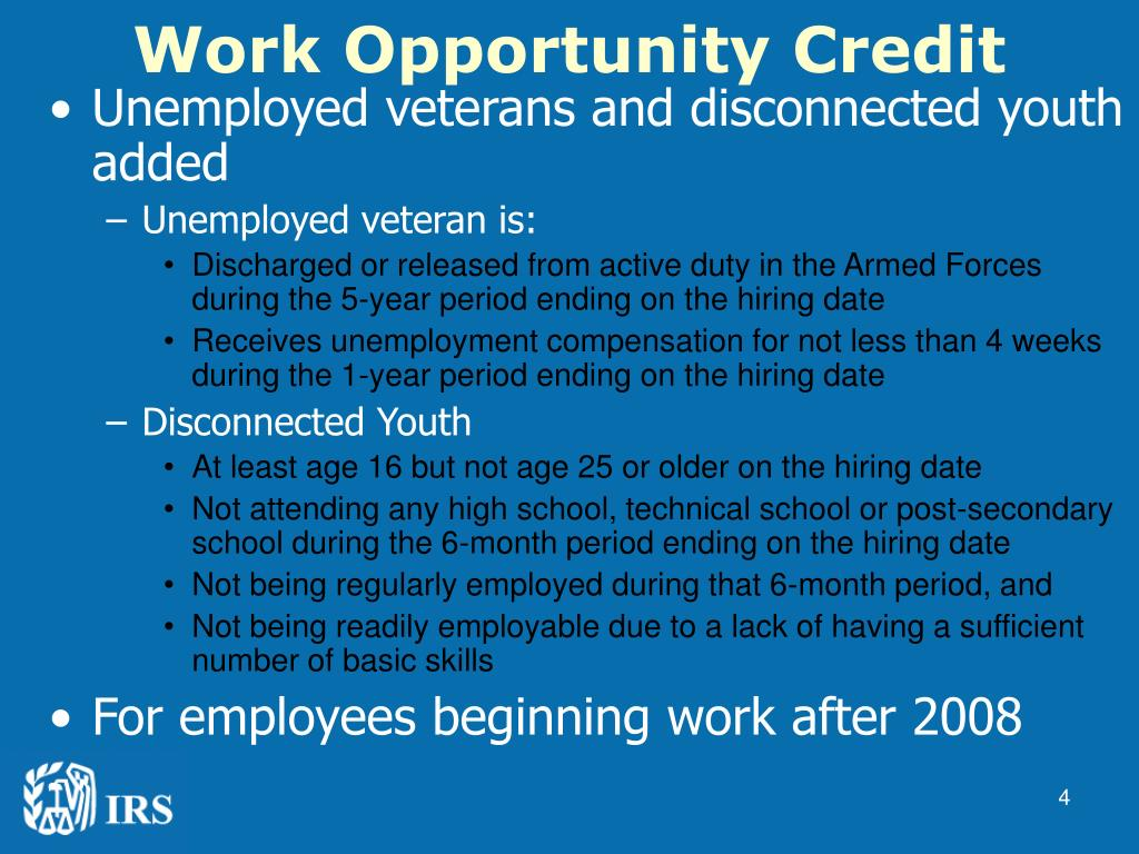Work Opportunity Credit