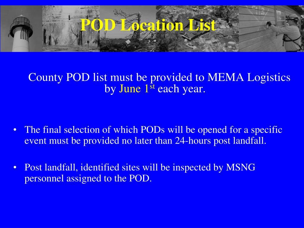 POD Location List
