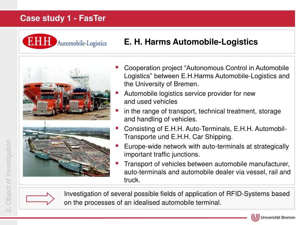 "Cooperation project ""Autonomous Control in Automobile Logistics"" between E.H.Harms Automobile-Logistics and the University of Bremen."