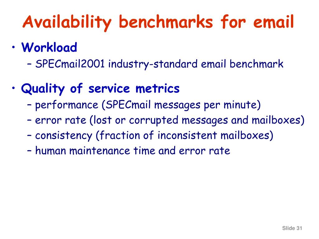 Availability benchmarks for email