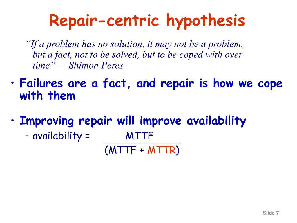 Repair-centric hypothesis