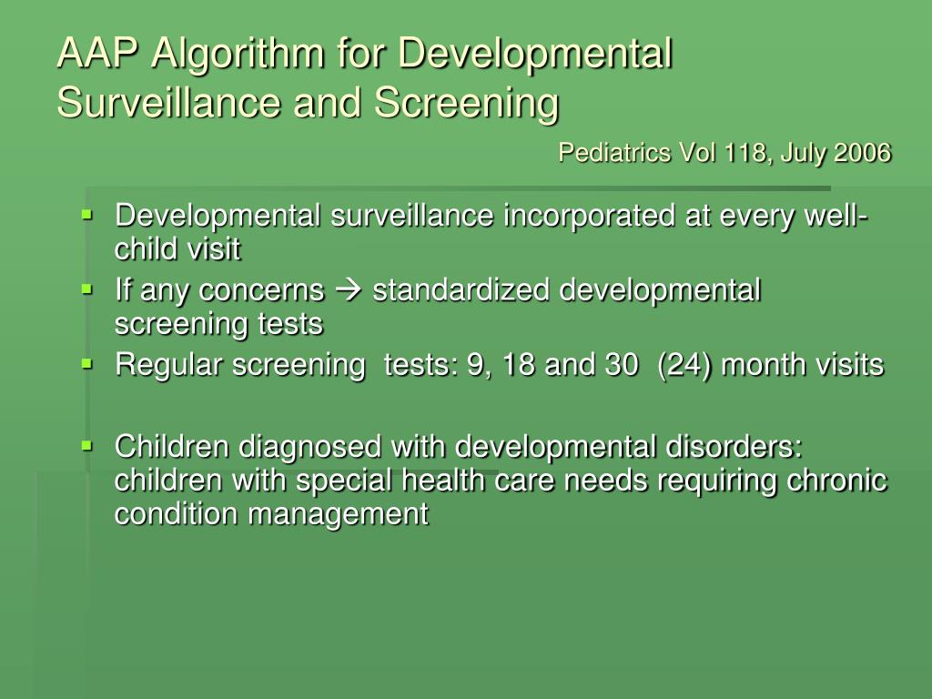 AAP Algorithm for Developmental Surveillance and Screening