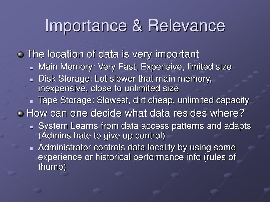 Importance & Relevance