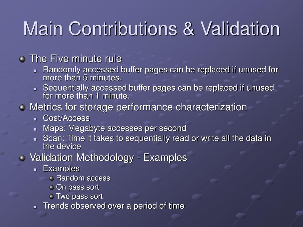Main Contributions & Validation