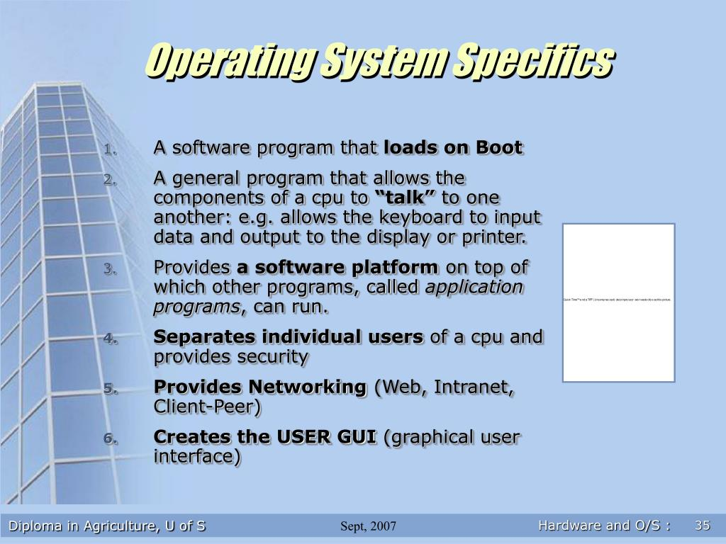 Operating System Specifics