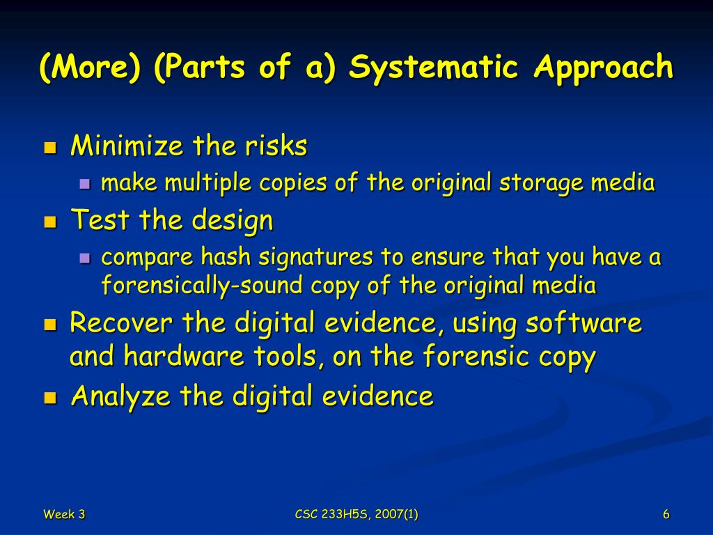 (More) (Parts of a) Systematic Approach
