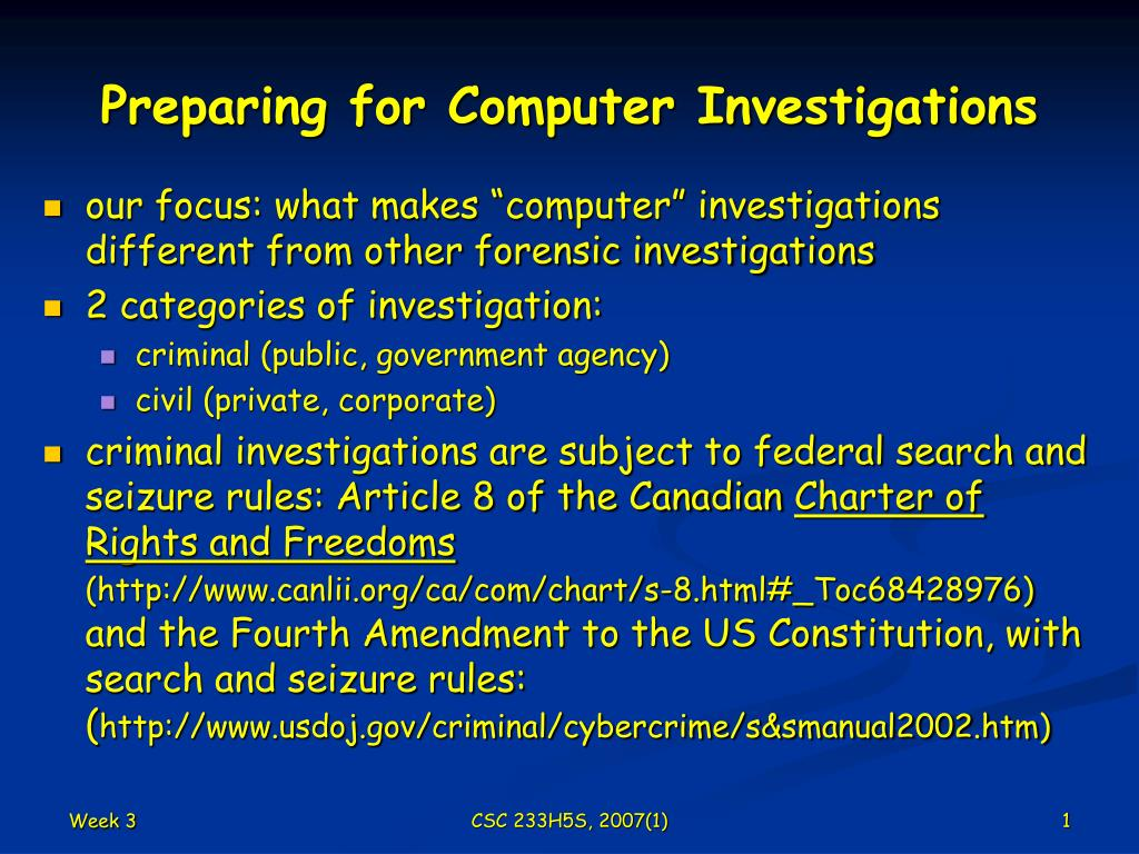 preparing for computer investigations