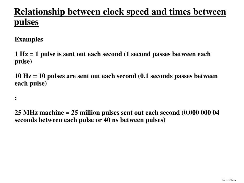 Relationship between clock speed and times between pulses