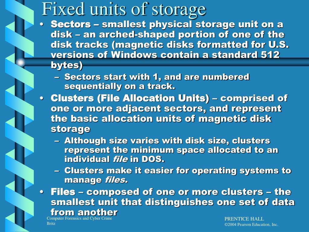 Fixed units of storage