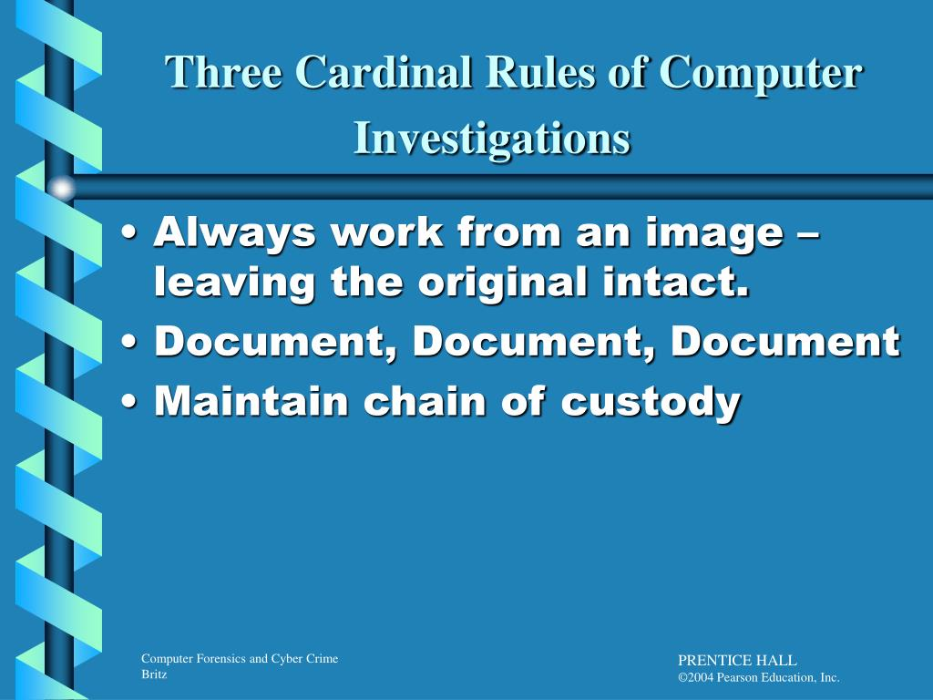 Three Cardinal Rules of Computer Investigations