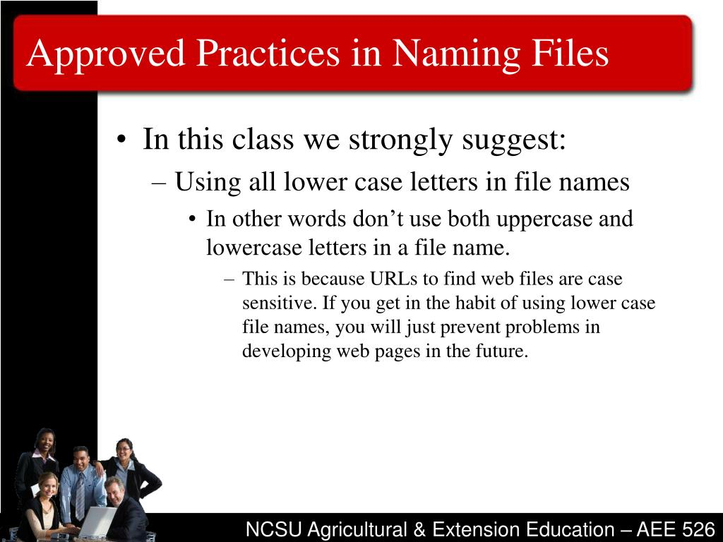 Approved Practices in Naming Files
