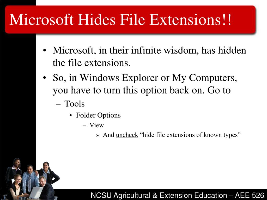 Microsoft Hides File Extensions!!
