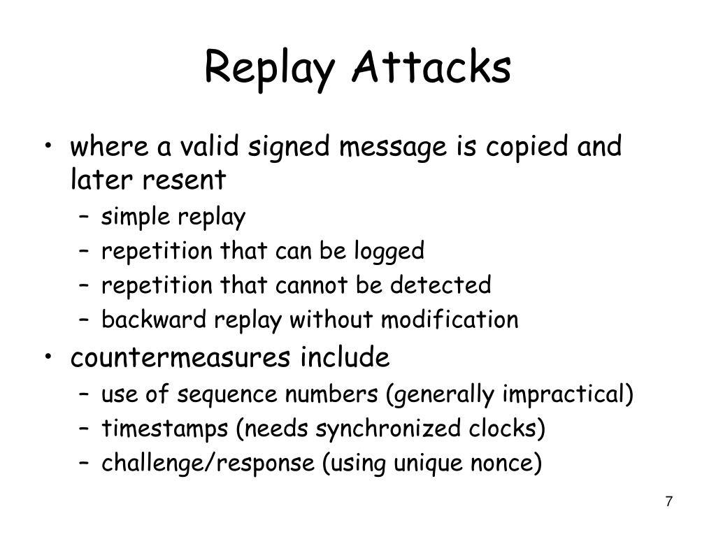 how to avoid replay attacks