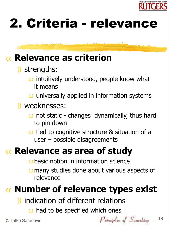 2. Criteria - relevance