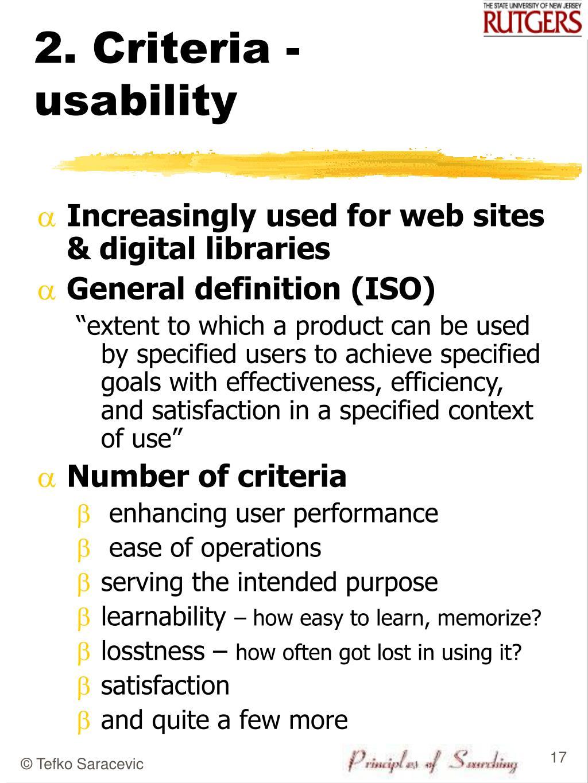 2. Criteria - usability