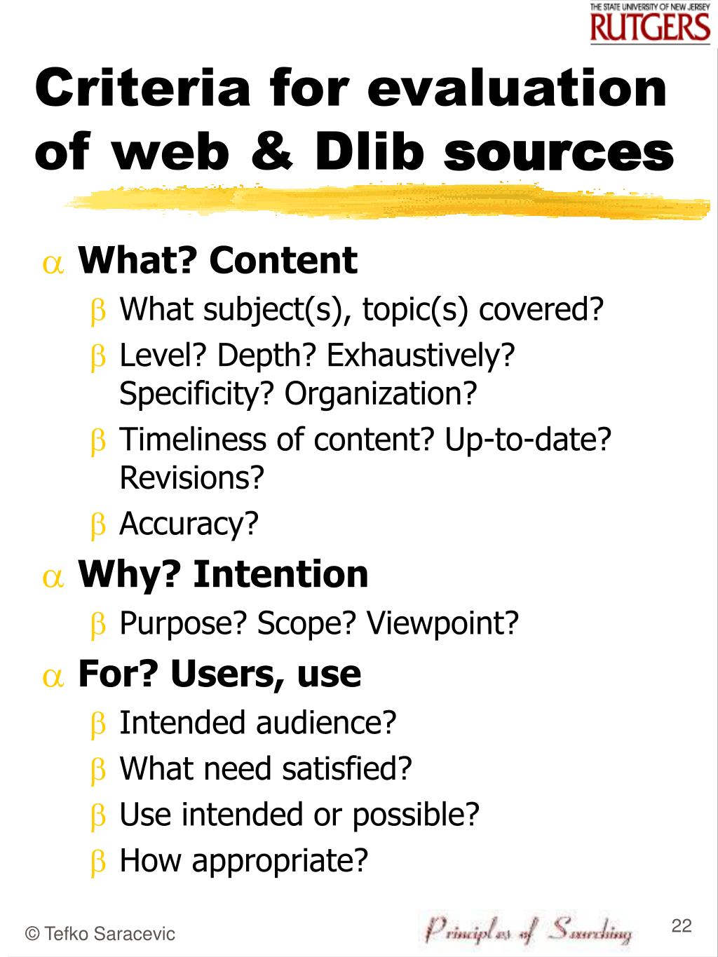 Criteria for evaluation of web & Dlib