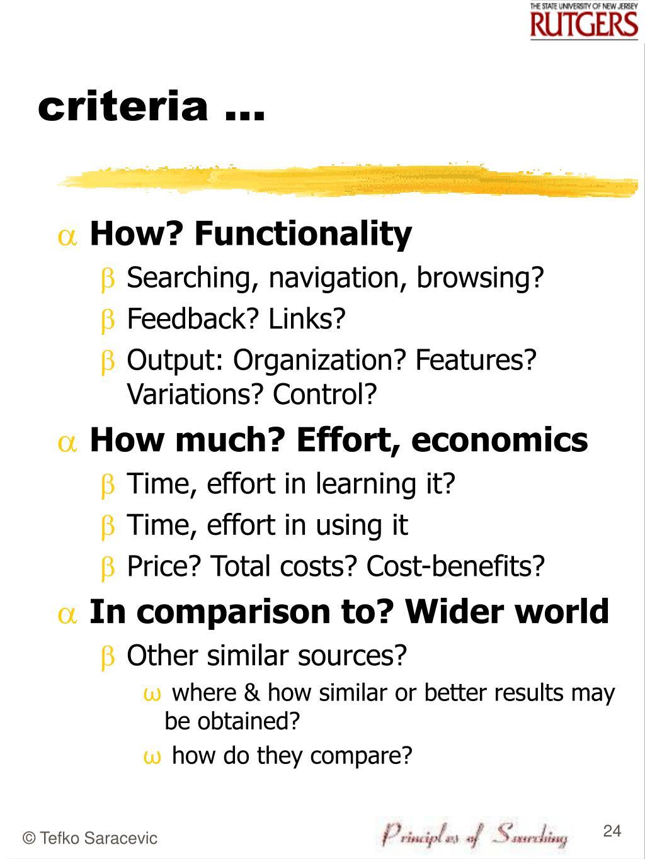 criteria ...