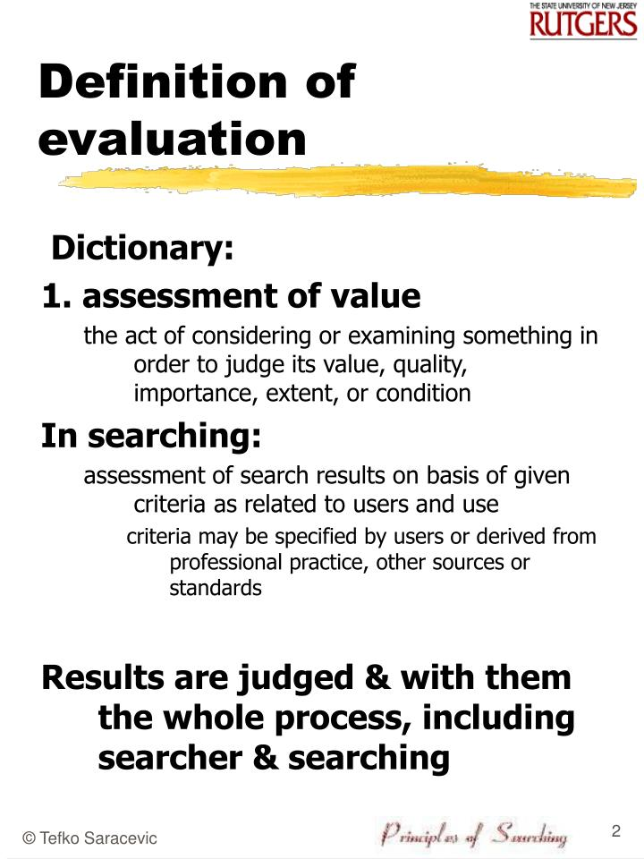 Definition of evaluation