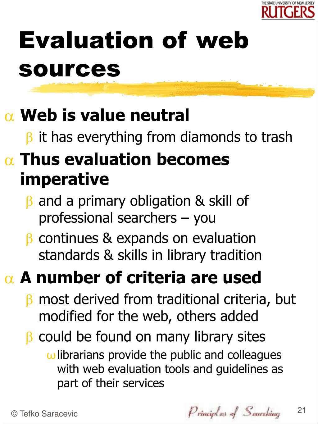 Evaluation of web sources