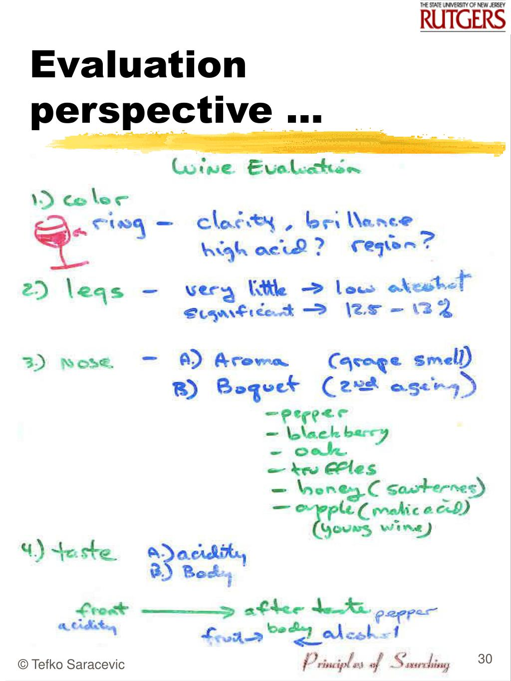 Evaluation perspective …