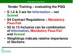 tender training evaluating the pqq