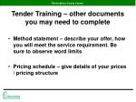 tender training other documents you may need to complete