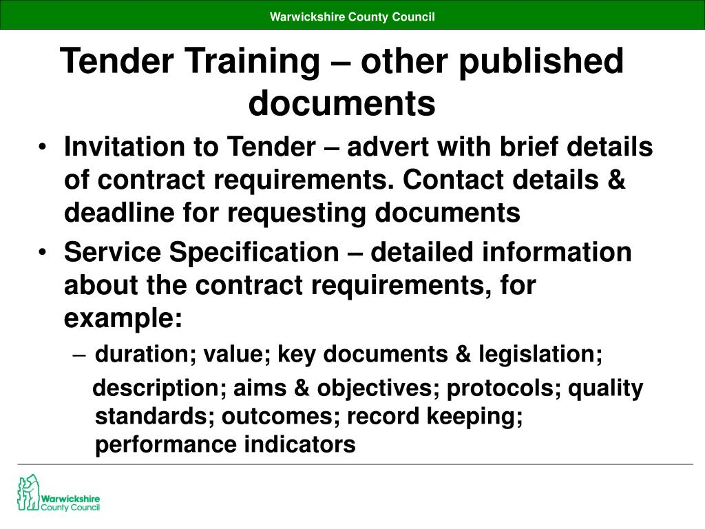 Tender Training – other published documents