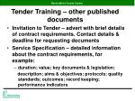 tender training other published documents