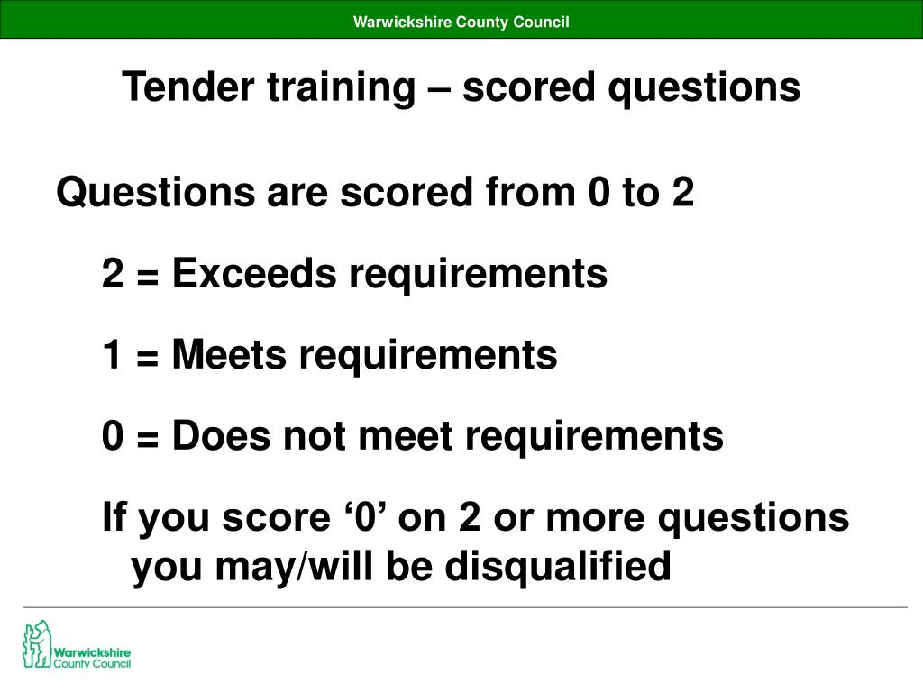 Tender training – scored questions