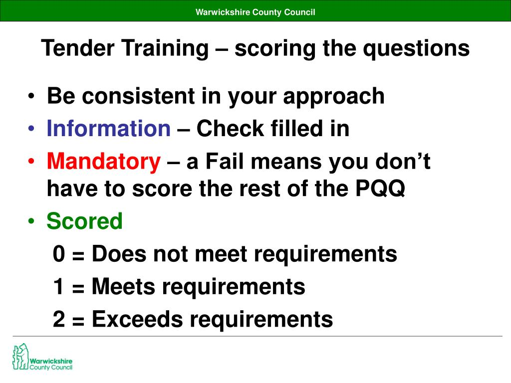 Tender Training – scoring the questions