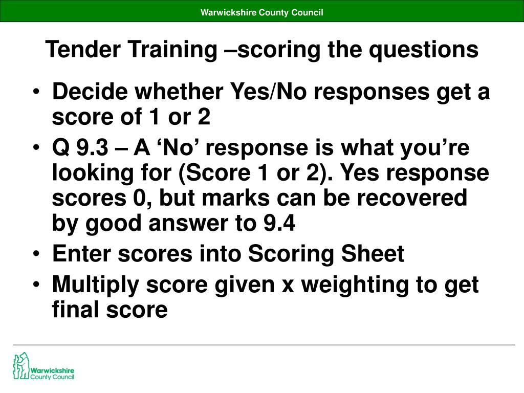 Tender Training –scoring the questions
