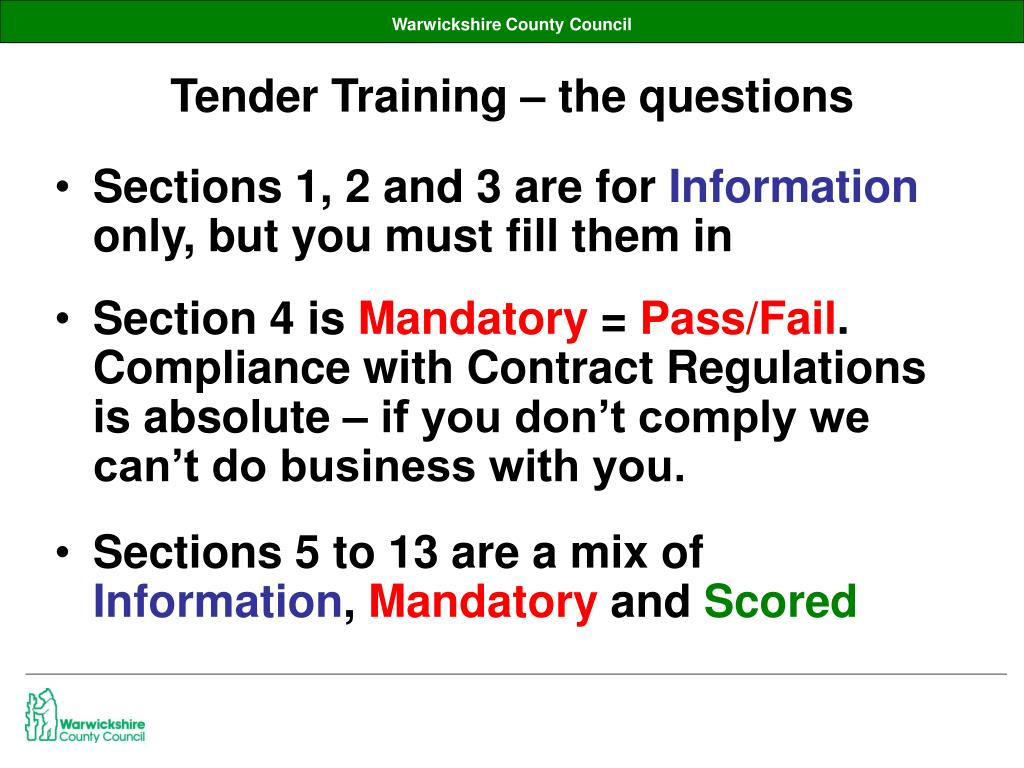 Tender Training – the questions
