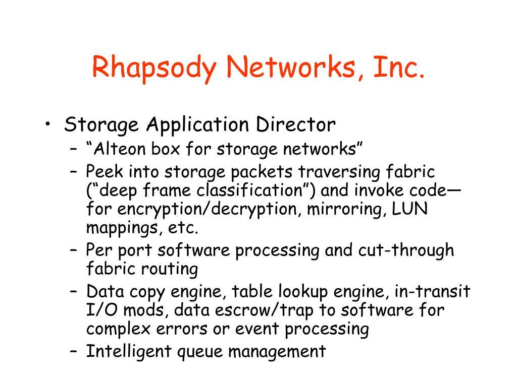 Rhapsody Networks, Inc.