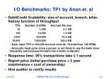 i o benchmarks tp1 by anon et al