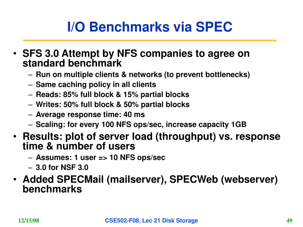I/O Benchmarks via SPEC
