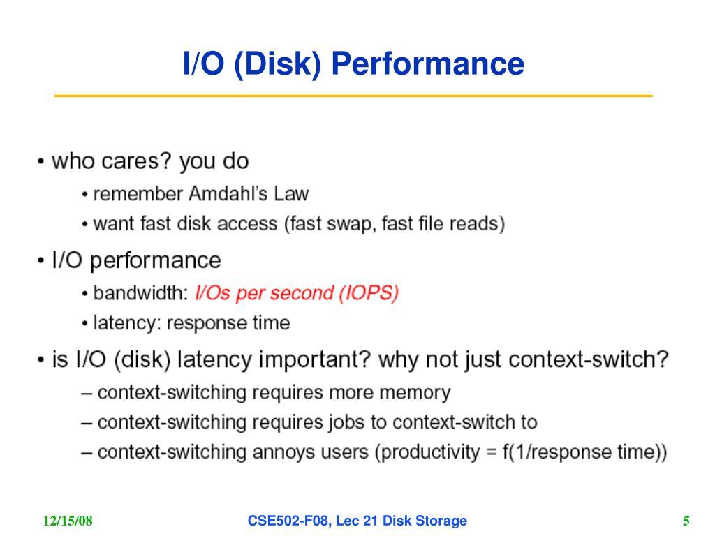I/O (Disk) Performance