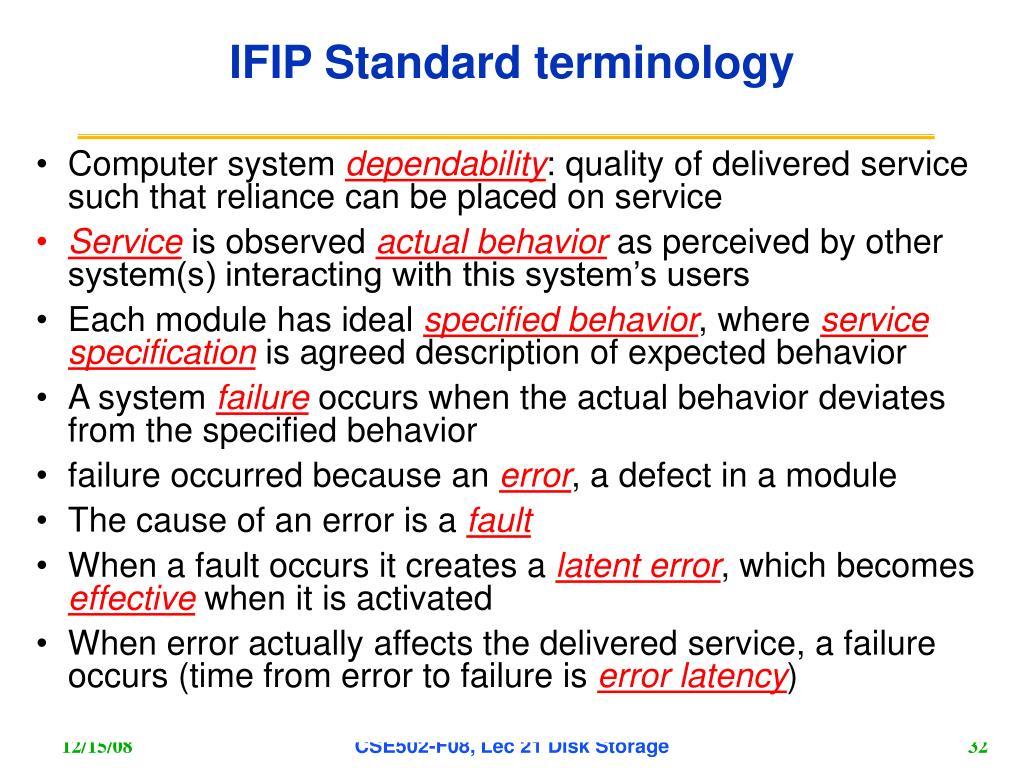 IFIP Standard terminology