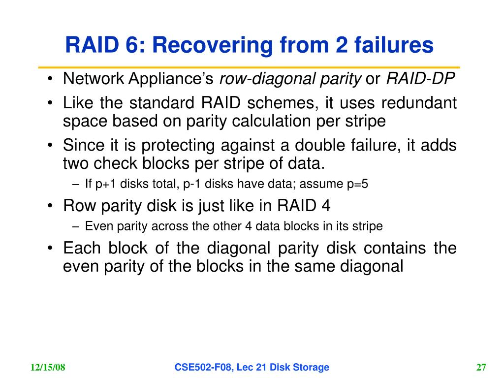 RAID 6: Recovering from 2 failures