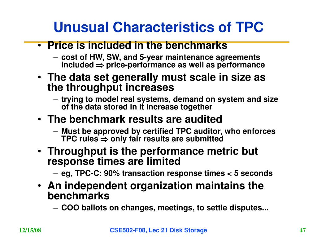 Unusual Characteristics of TPC