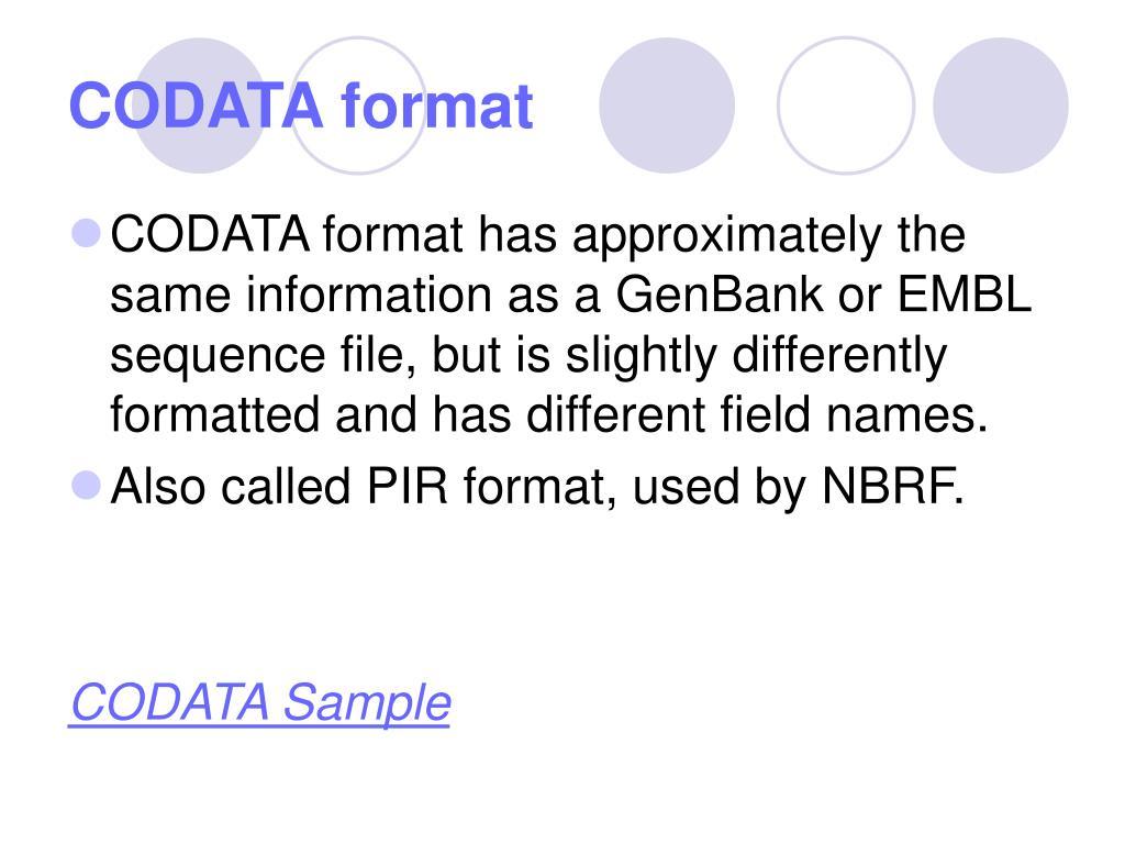 CODATA format