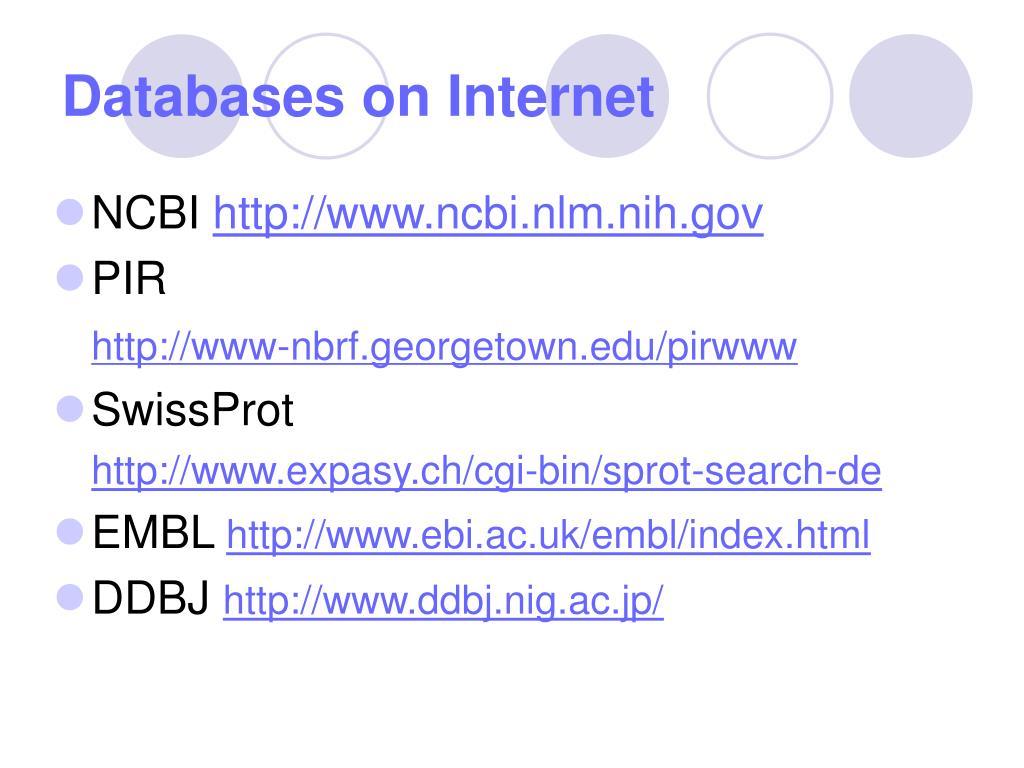Databases on Internet