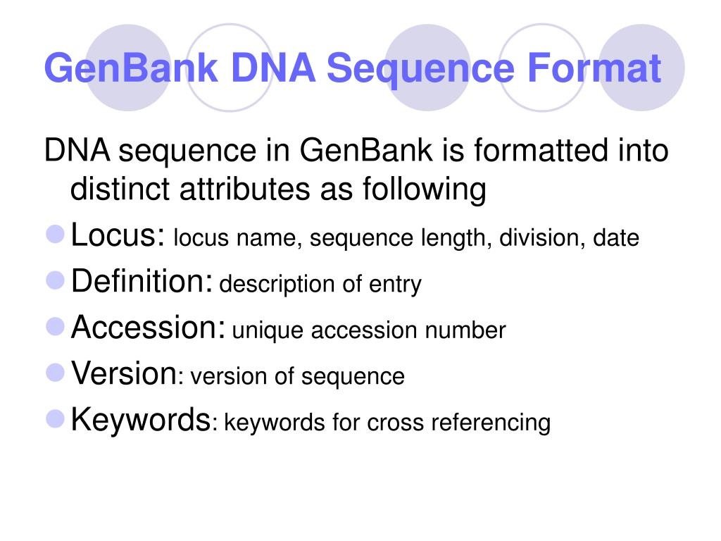 GenBank DNA Sequence Format
