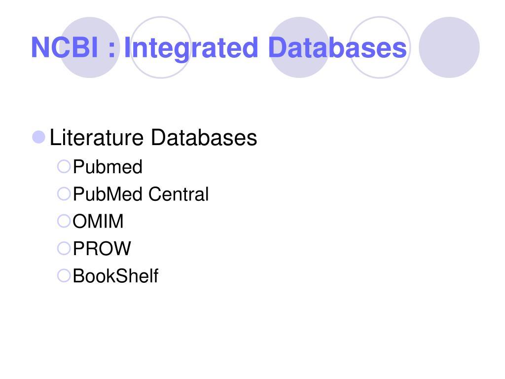NCBI : Integrated Databases