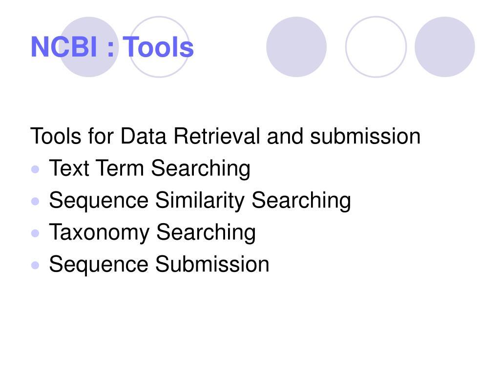 NCBI : Tools