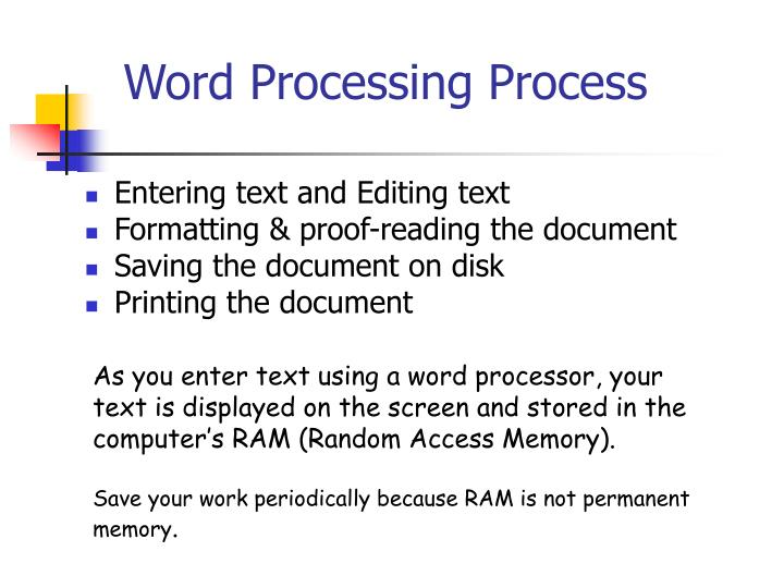 Word Processing Process