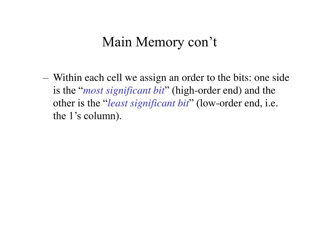 Main Memory con't